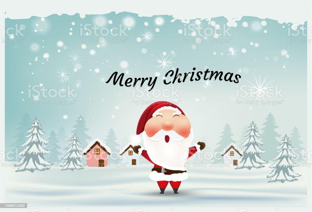 Frohe Weihnachten Und Happy New Year Weihnachtsmann Schneeszene ...