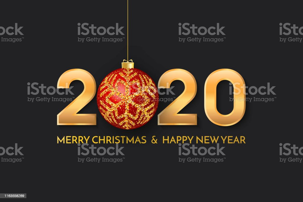 Merry Christmas Images 2020.Merry Christmas And New Year 2020 Greeting Card 2020 Golden