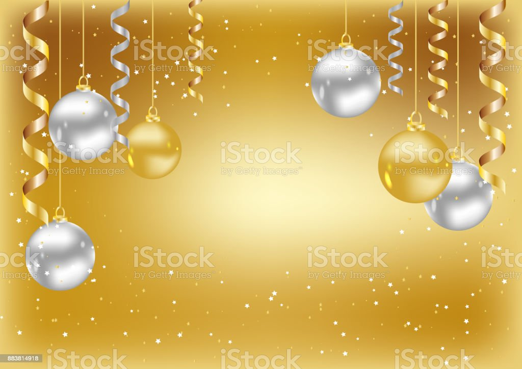 merry christmas and new year background christmas gold card with balls royalty free merry