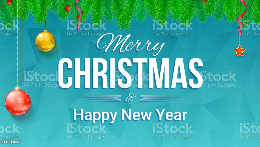 merry christmas and new year banner with fir branches and christmas toys on backdrop with triangles