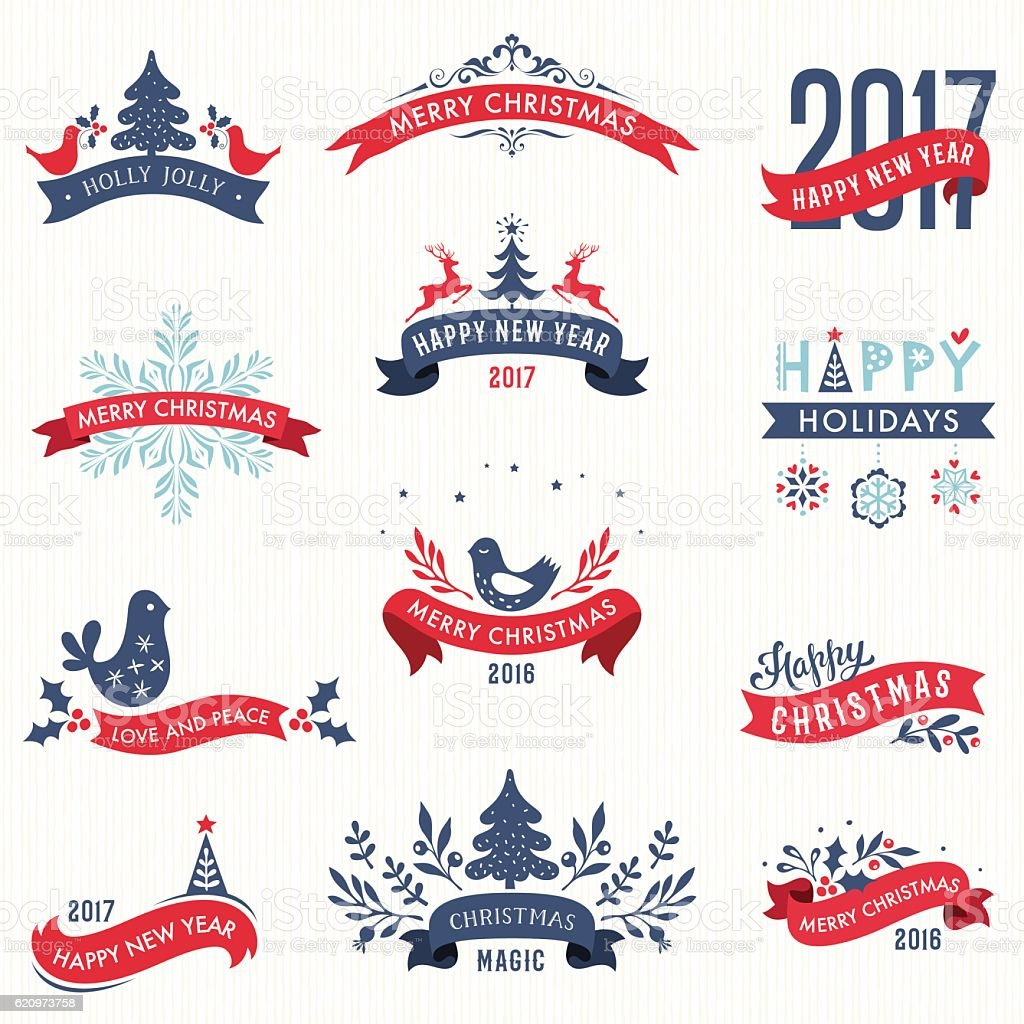 Merry Christmas and New Year Banners vector art illustration