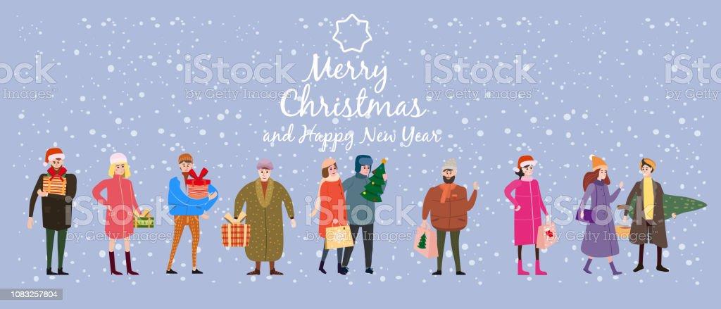 Frohe Weihnachten Männer Bilder.Frohe Weihnachten Und Neujahr Kartenvorlage Mit Menschen Zeichen