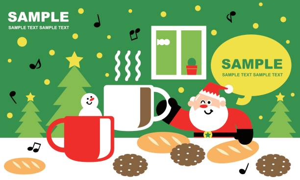 illustrazioni stock, clip art, cartoni animati e icone di tendenza di merry christmas and new year greeting card, coffee time with cute santa claus and snowman - pranzo natale