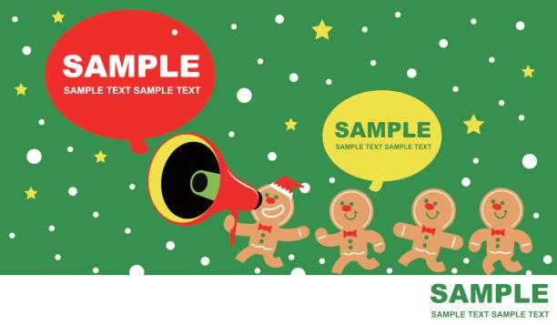 frohe weihnachten und neujahr grußkarte, süße lebkuchen-mann reden durch ein megaphon (gruppe von lebkuchen kinder herumrennen und spielen) - weihnachtsmarkt stock-grafiken, -clipart, -cartoons und -symbole