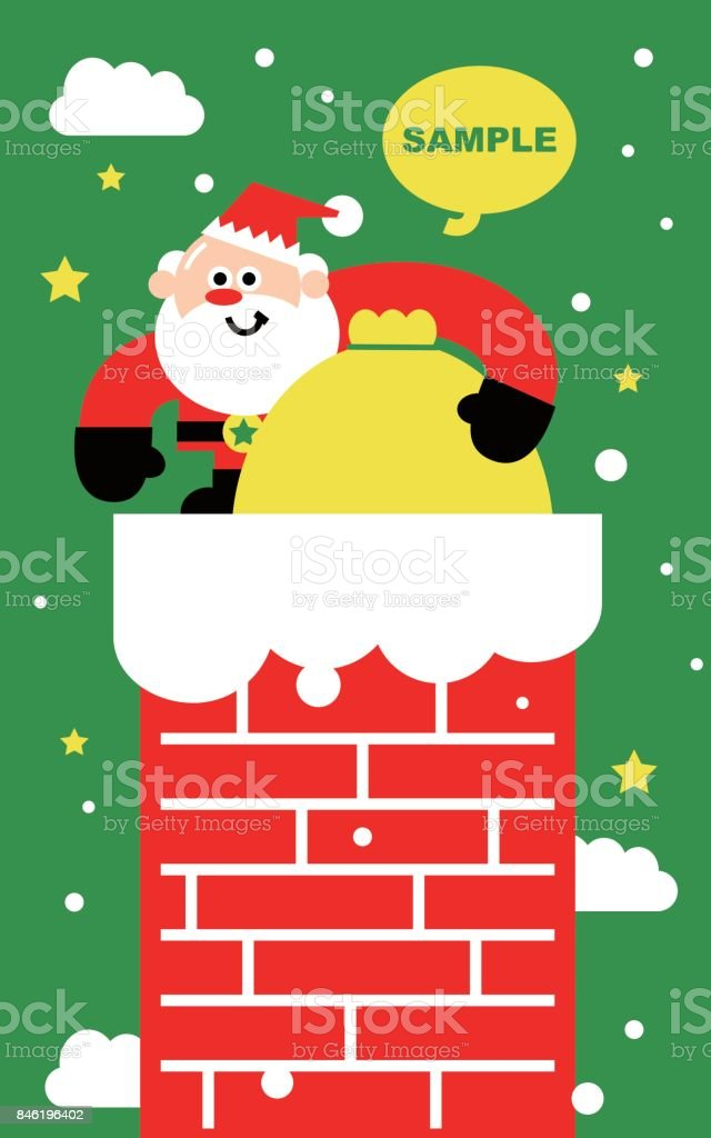 merry christmas and new year greeting card cute santa claus descends