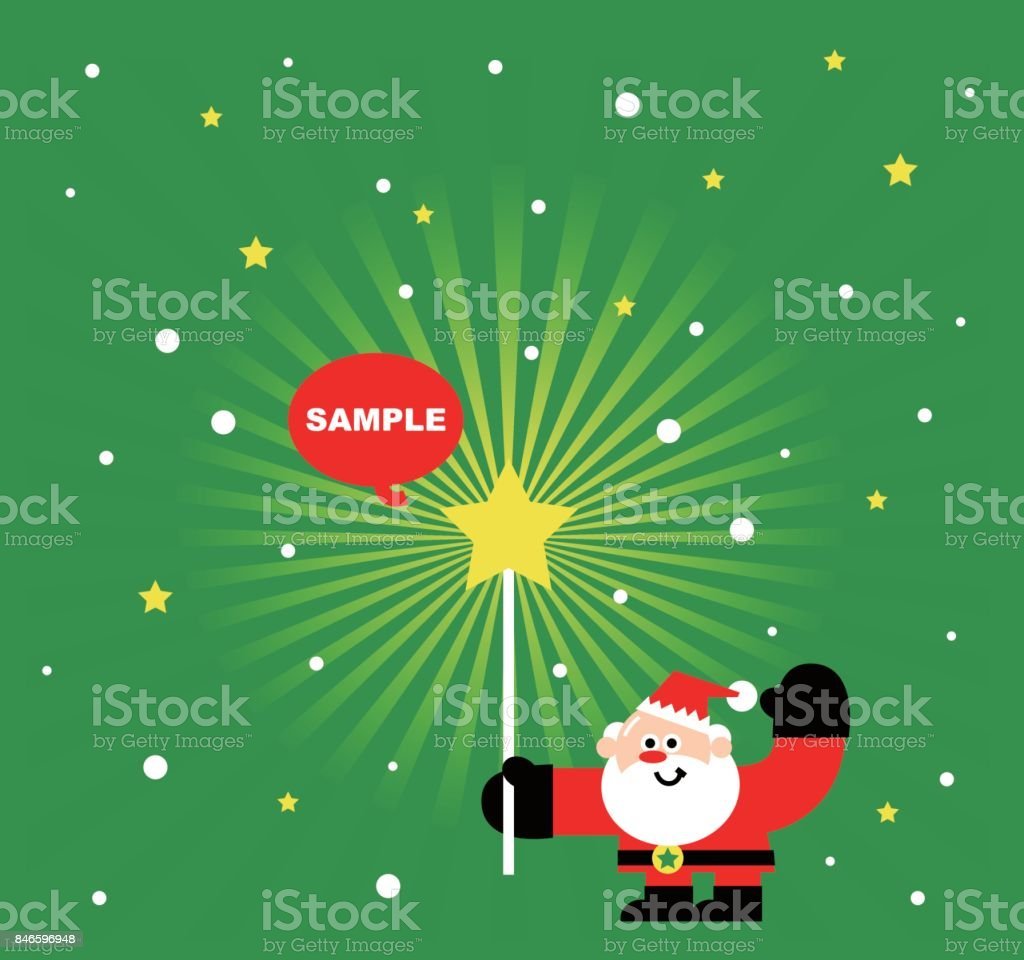 Merry christmas and new year greeting card cute santa claus holding merry christmas and new year greeting card cute santa claus holding a magic wand with m4hsunfo Images