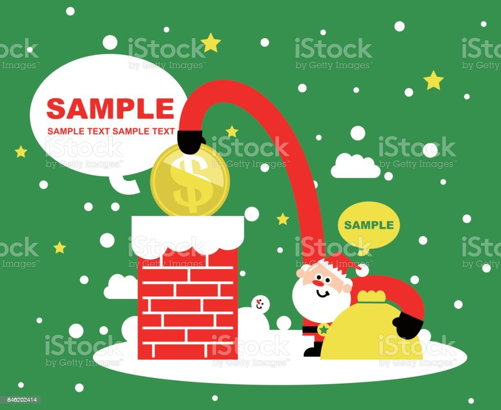 Merry Christmas And New Year Greeting Card Cute Santa Claus Putting