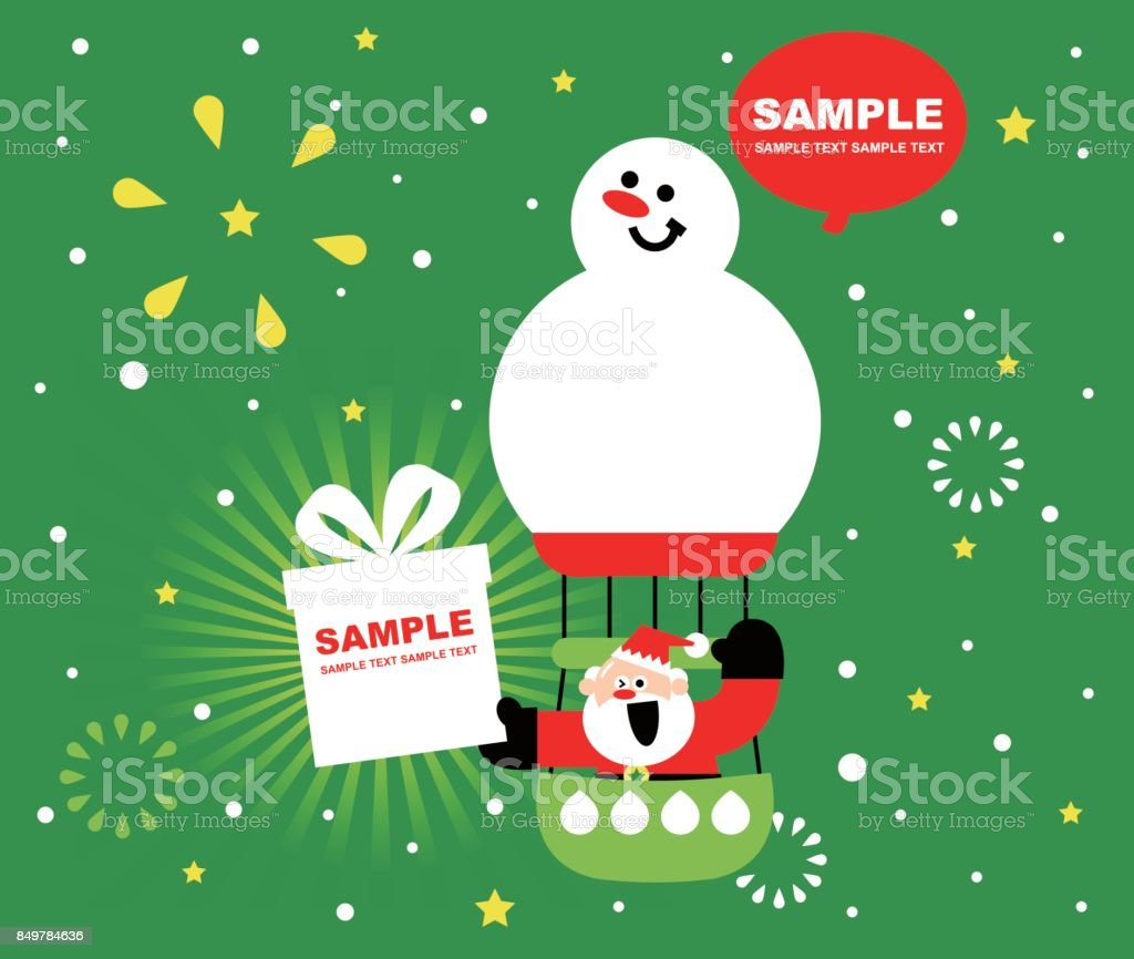 Merry christmas and new year greeting card cute smiling santa merry christmas and new year greeting card cute smiling santa claus sitting on a snowman kristyandbryce Image collections