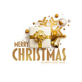 Merry Christmas and New Year greeting card design. Festive Christmas decoration elements. Vector illustration.
