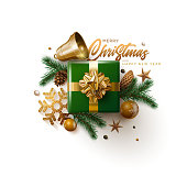 Merry Christmas and New Year greeting card design. Vector illustration. Elements are layered separately in vector file.