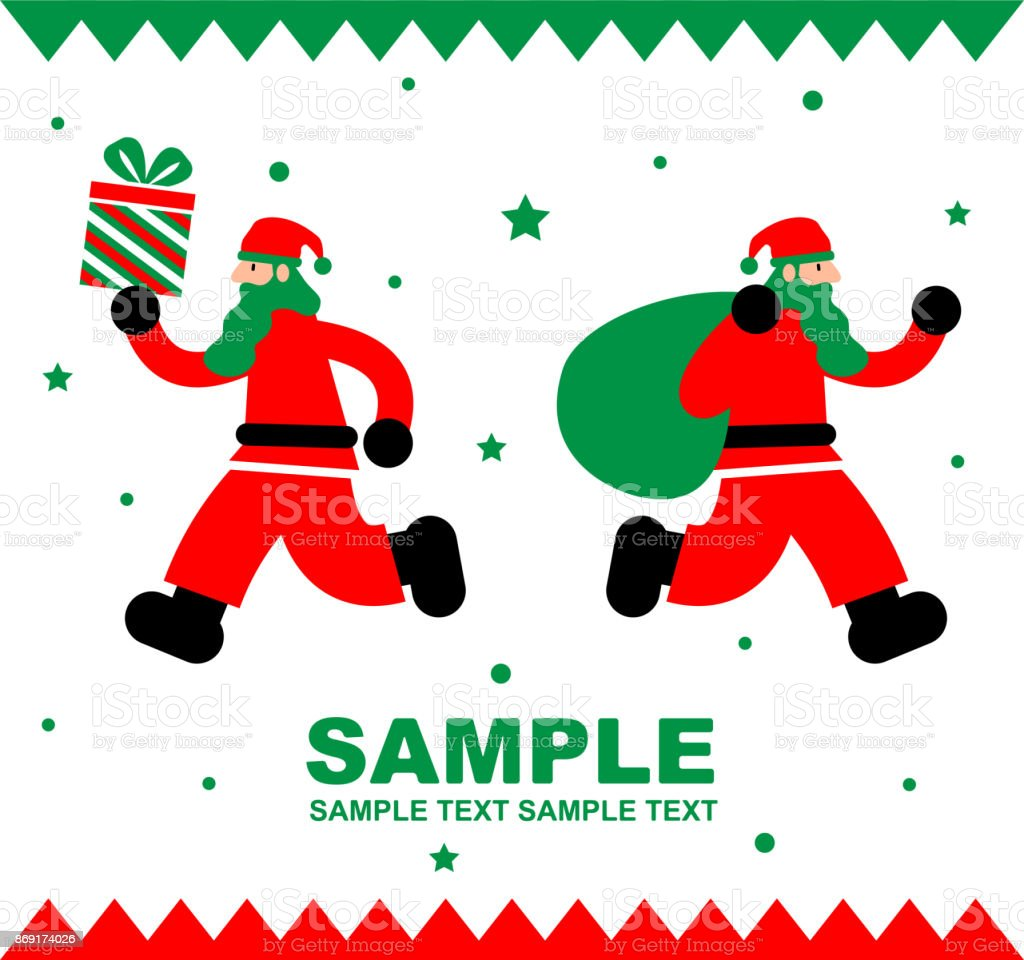 Merry Christmas And New Year Greeting Card Santa Claus Running With