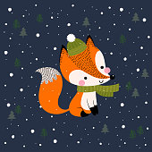Merry Christmas and New Year greeting card with cute fox on dark blue background.