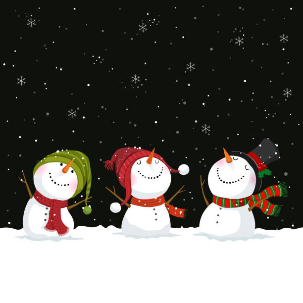 Merry Christmas and New Year greeting card with snowmen Merry Christmas and New Year greeting card with snowmen snowman stock illustrations