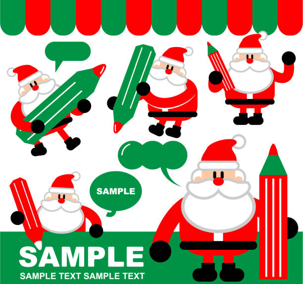 merry christmas and new year greeting, cute santa claus writing with a pencil, drawing with a crayon - old man standing drawings stock illustrations, clip art, cartoons, & icons