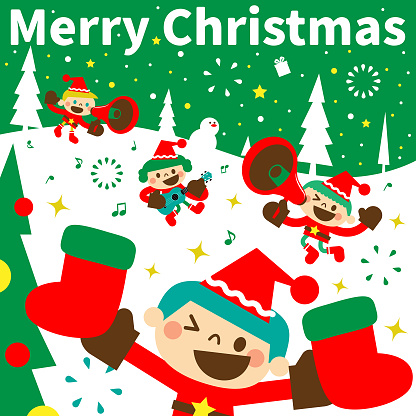 Merry Christmas and New Year greeting from cute boys and girls wearing Santa Claus clothes