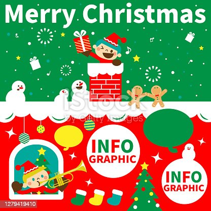 istock Merry Christmas and New Year greeting from cute children wearing Santa Claus clothes; A boy holding a gift box is coming down the chimney into the house and a boy is playing the trumpet at the window 1279419410