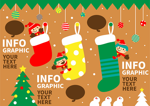 Merry Christmas and New Year greeting from cute children wearing Santa Claus clothes; Bar Chart Infographic made of Christmas stocking