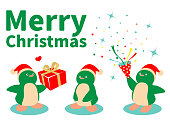Merry Christmas Cartoon Characters Design Vector Art Illustration.  Merry Christmas and New Year greeting from cute penguins wearing Santa hat; One penguin is sending a gift box to another penguin, and the other penguin is pulling (opening) a Christmas cracker.