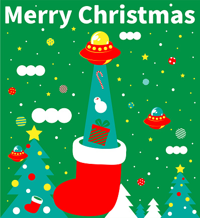 Merry Christmas and New Year greeting from Ufo Alien invitation