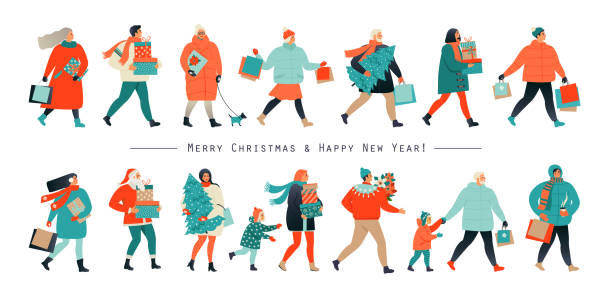 ilustrações de stock, clip art, desenhos animados e ícones de merry christmas and new year. holiday family set. parents and children decorate the christmas tree. vector illustration in a flat style. - family christmas