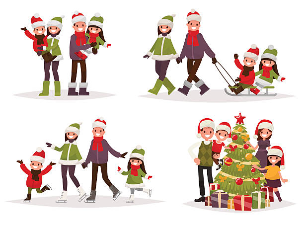 Merry Christmas and New Year. Holiday family set. Merry Christmas and New Year. Holiday family set. Parents and children are skating and sledding, decorate the Christmas tree. Vector illustration in a flat style christmas family stock illustrations