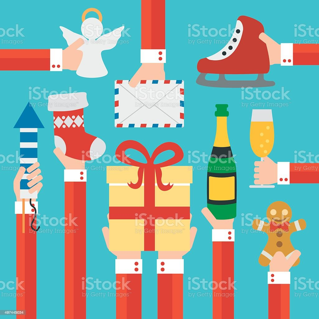 Merry Christmas and New year modern flat design vector art illustration