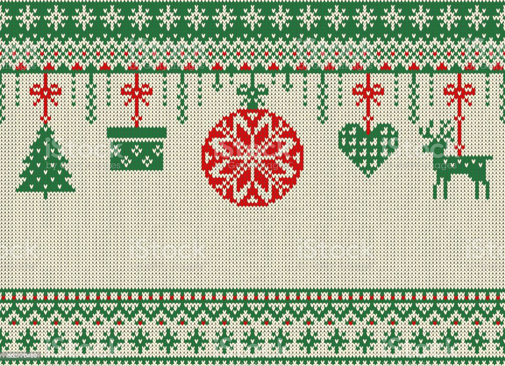 Merry Christmas and New Year seamless knitted pattern with Christmas balls, snowflakes and fir. Scandinavian style. Winter Holiday Sweater Design. Vector Illustration. vector art illustration
