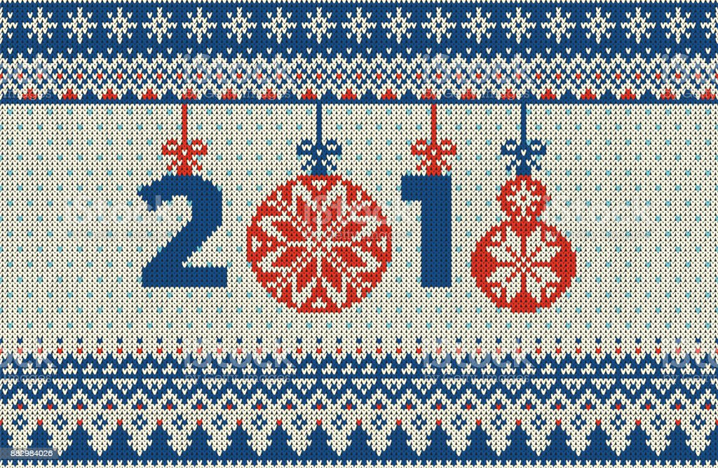 Merry Christmas and New Year seamless knitted pattern with Christmas...