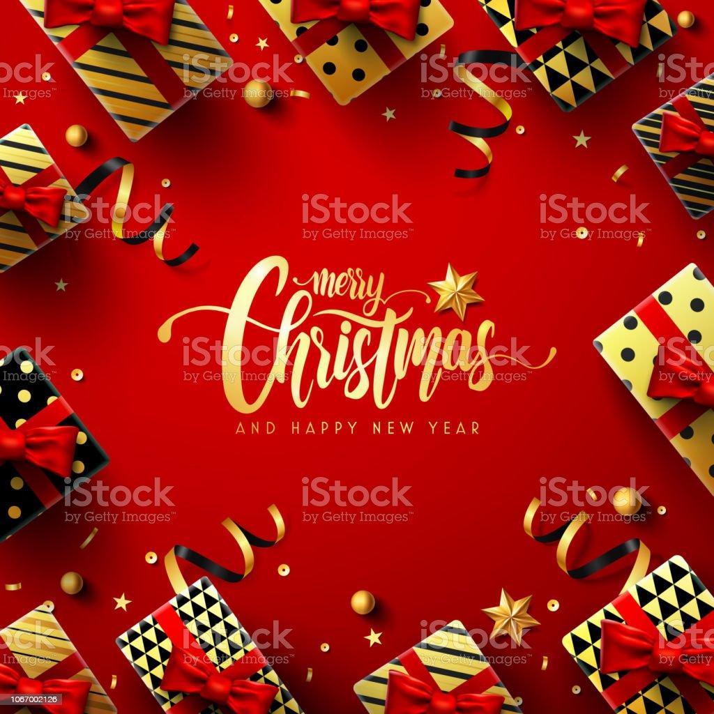 43b8095664010 Feliz Navidad y nuevo Poster de Red años regalo caja de Navidad decoración  elementos y para