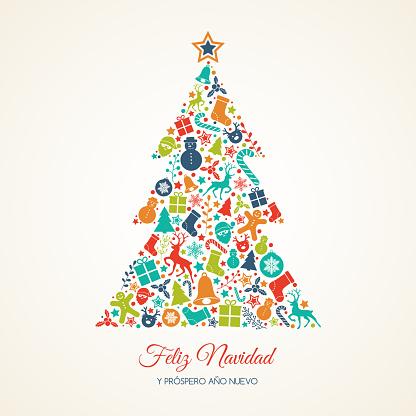 Merry Christmas and Prospero Ano Nuevo - Spanish Christmas wishes. Vector.