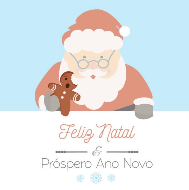 Feliz Natal and Prospero Ano Novo Santa Claus and portuguese message Feliz Natal and Prospero Ano Novo; means Merry Christmas and Happy New Year. Christmas vector. ano novo stock illustrations