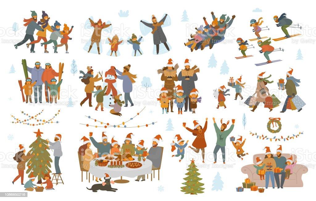 buon Natale e inverno famiglia set - arte vettoriale royalty-free di Adulto