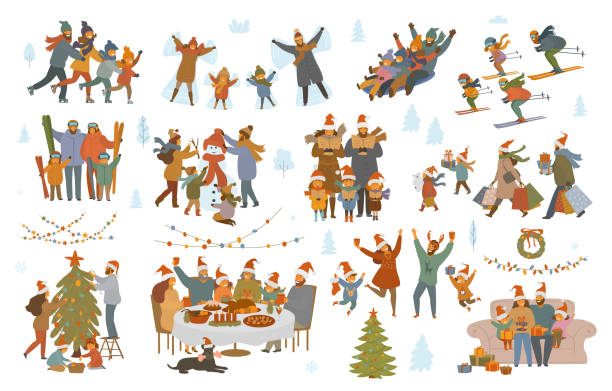merry christmas and winter family set merry christmas and winter family set, parents and children shopping, sledding, ice skating, skiing, make snowman, sing carols, celebrate xmas evening, have dinner, decorate tree, exchange presents scenes australian christmas stock illustrations