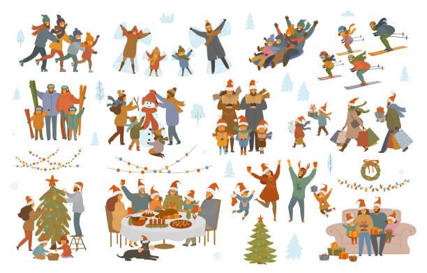 ilustrações de stock, clip art, desenhos animados e ícones de merry christmas and winter family set - christmas table