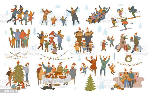 Buon Natale E Inverno Famiglia Set - Immagini vettoriali stock e altre immagini di Adulto