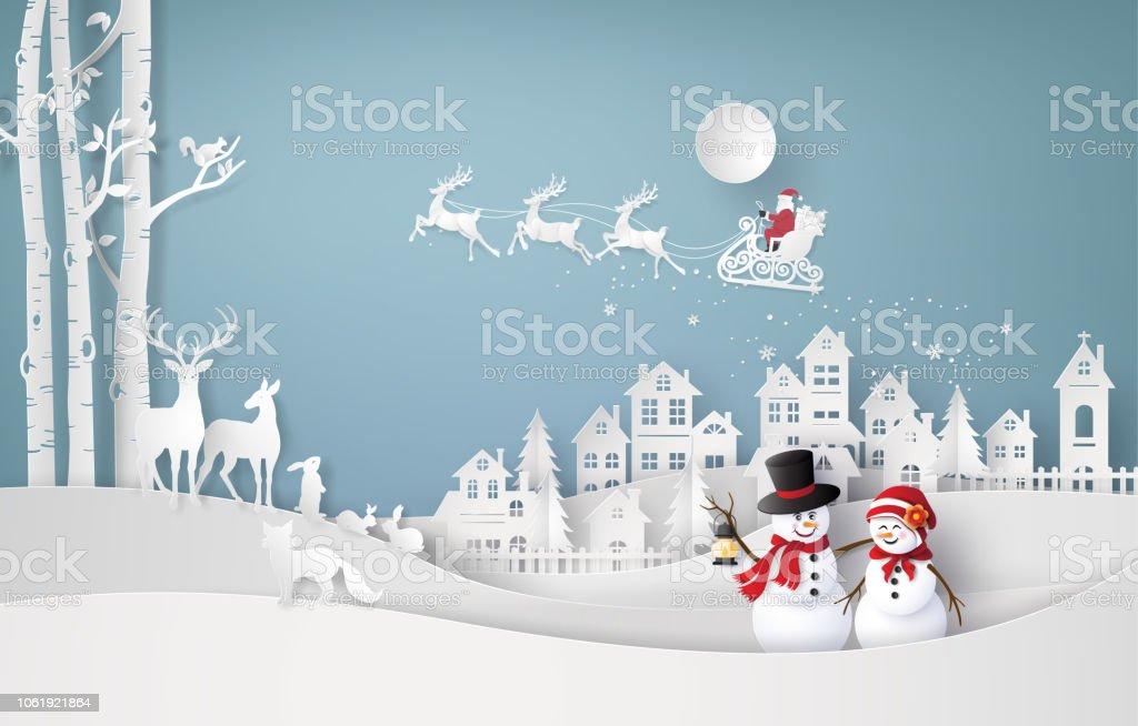 Feliz Navidad y el invierno de la temporada ilustración de feliz navidad y el invierno de la temporada y más vectores libres de derechos de aire libre libre de derechos