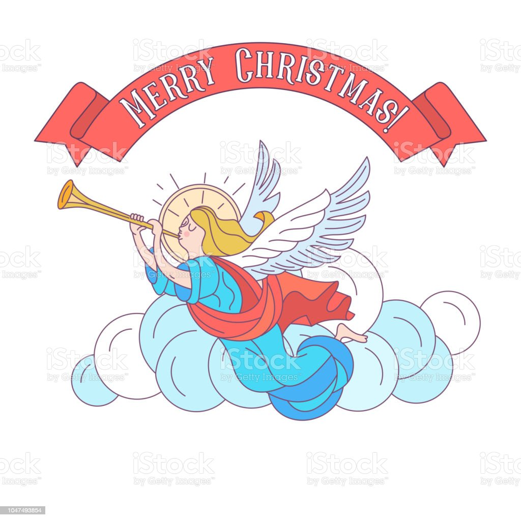 Merry Christmas Angels Blowing Trumpets Vector Illustration Stock ...
