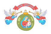 merry Christmas. Vector postcard, illustration. Angels trumpeting. Isolated on white background. Christmas decoration ball with the image of the virgin Mary Madonna with the baby Jesus.