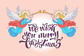 We wish you a merry Christmas. Vector postcard, illustration. Angels trumpeting.