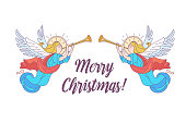 merry Christmas. Vector postcard, illustration. Angels trumpeting. Isolated on white background.