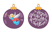 We wish you a merry Christmas. Vector postcard, illustration. The angel blows the trumpet. Christmas decoration ball.  Isolated on white background.
