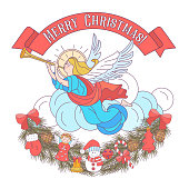 merry Christmas. Vector postcard, illustration. The angel blows the trumpet. A garland of fir branches decorated with Christmas decorations. Isolated on white background.