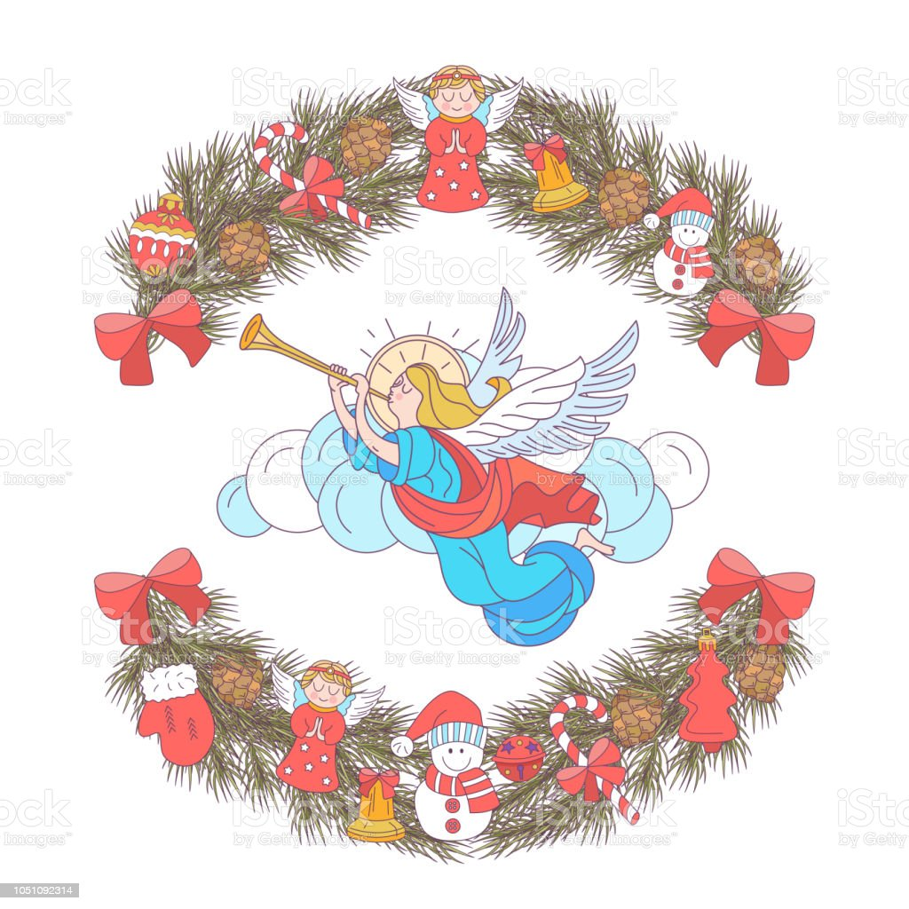 Christmas Angels.Merry Christmas Angels Blowing Trumpets Vector Illustration