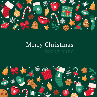 Merry Christmas background. Christmas elements collection. Vector illustration.