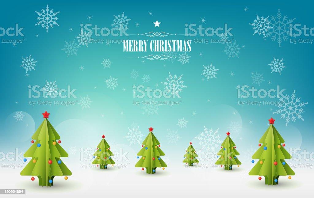 Neşeli Noel Arka Plan Noel Ağaçları Karlı Manzara Vektör çizim Stok