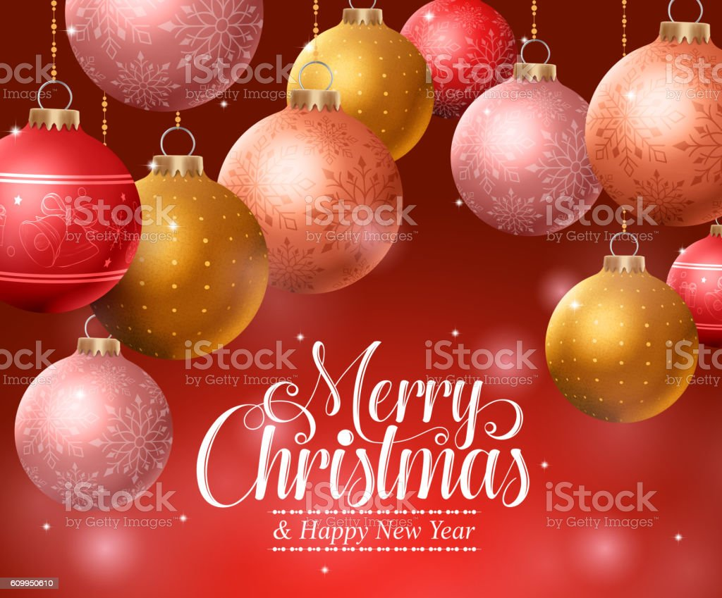 Colorful Christmas Background Design.Merry Christmas Background Design With Hanging Colorful