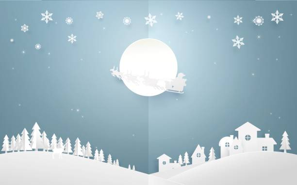 Merry Christmas background. Santa Claus flying in a sleigh with reindeer on full moon over country side city. Paper art and origami style design vector art illustration