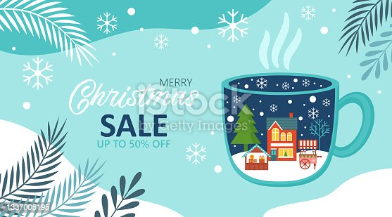 istock Merry Christmas background template for social media, banner or poster design. Country village landscape in coffee cup creative concept. 1337005195