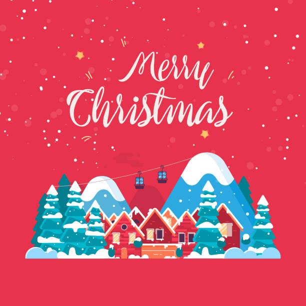 stockillustraties, clipart, cartoons en iconen met merry christmas achtergrond - christmas cabin