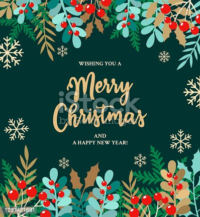Vector illustration of Merry Christmas, Banner - Sign, Holly, Message